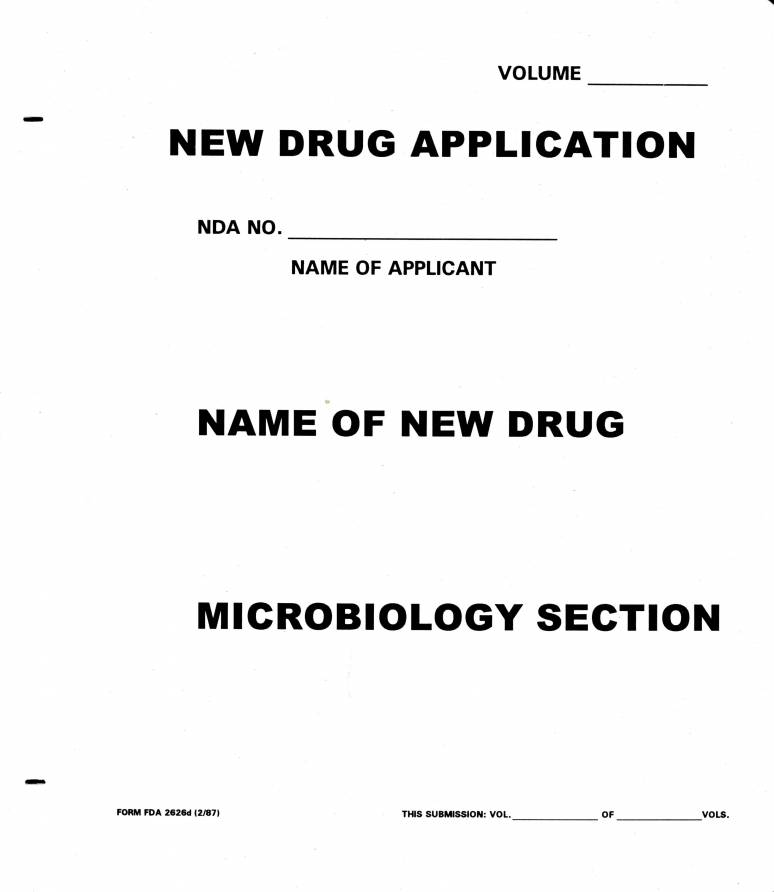 New Drug Application: Microbiology (White Paper Folder)