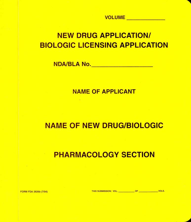 New Drug Application: Pharmacology Section (Yellow Paper Folder)