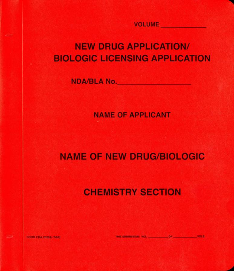 New Drug Application: Chemistry Section (Red Paper Folder)