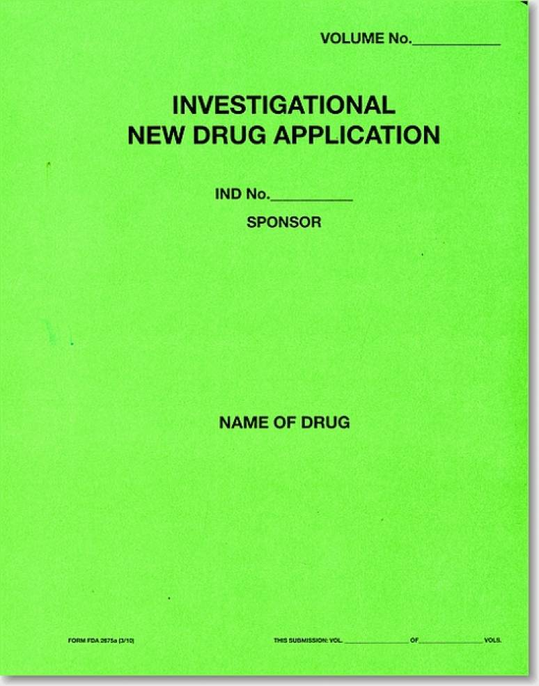 Investigational New Drug Application, (Green Paper Folder)