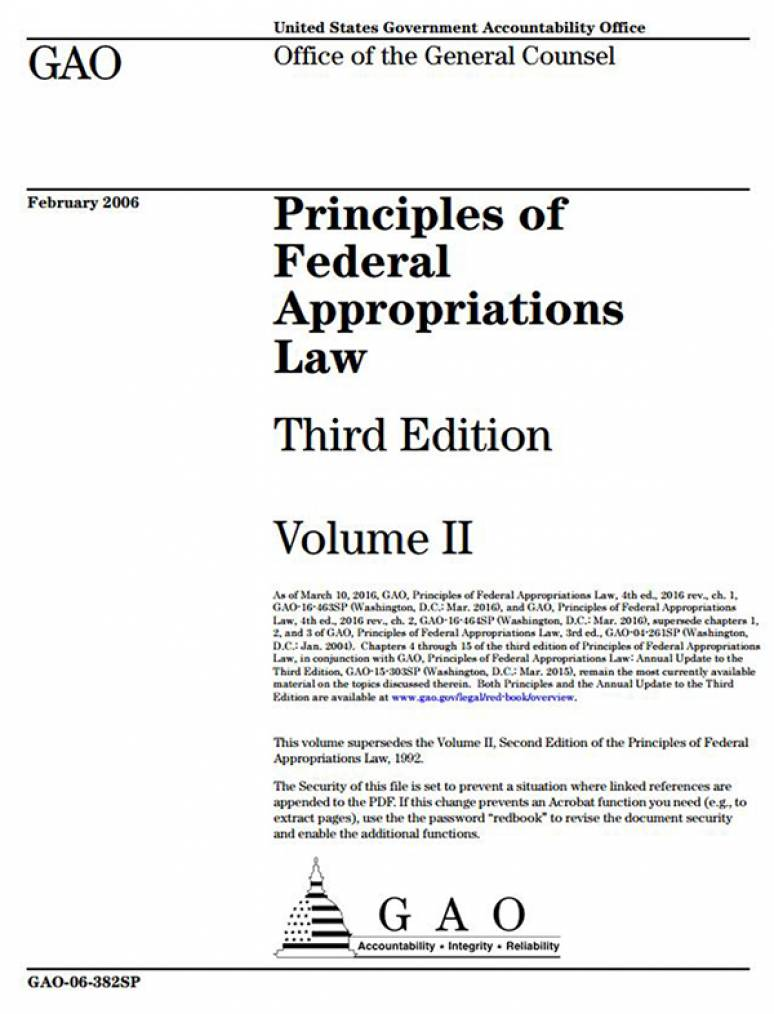 Principles of Federal Appropriations Law, V. 2