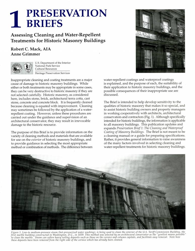 Assessing Cleaning and Water-Repellent Treatments for Historic Masonry Buildings