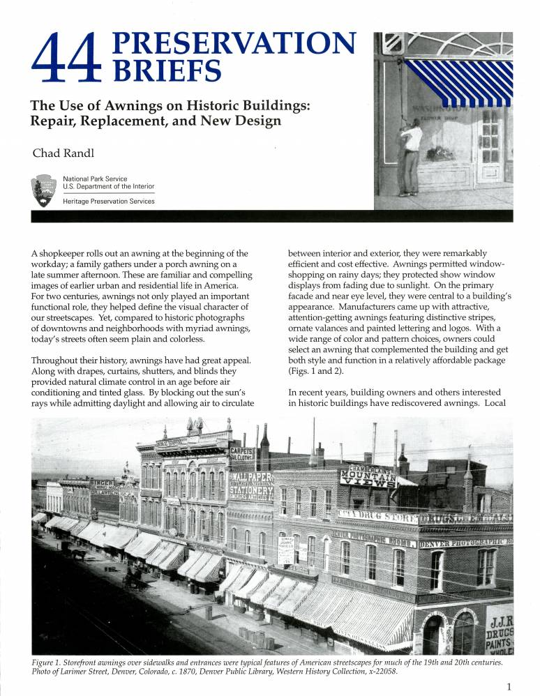 Use of Awnings on Historic Buildings: Repair, Replacement and New Design