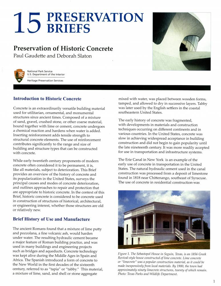 Preservation of Historic Concrete: Problems and General Approaches, Revised