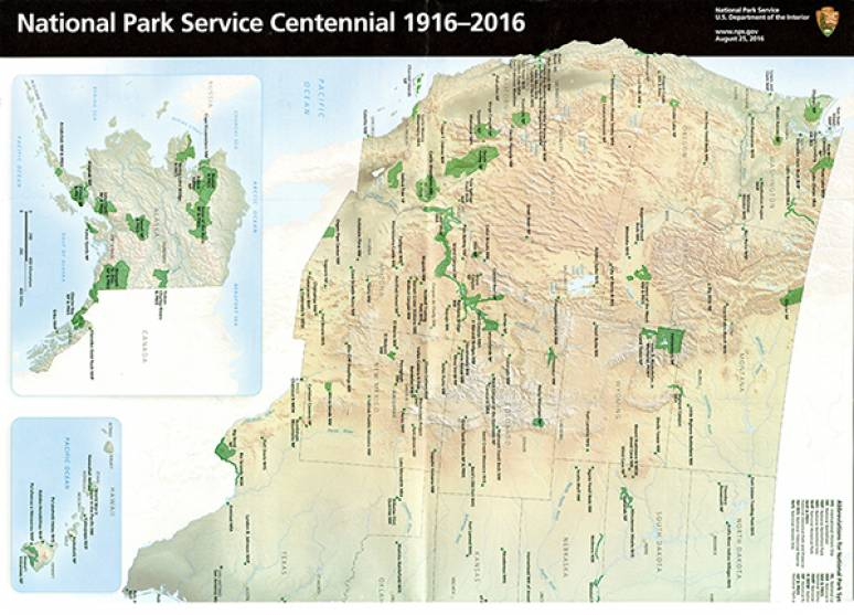 National Park Service Centennial 1916-2016 (Map and Guide)