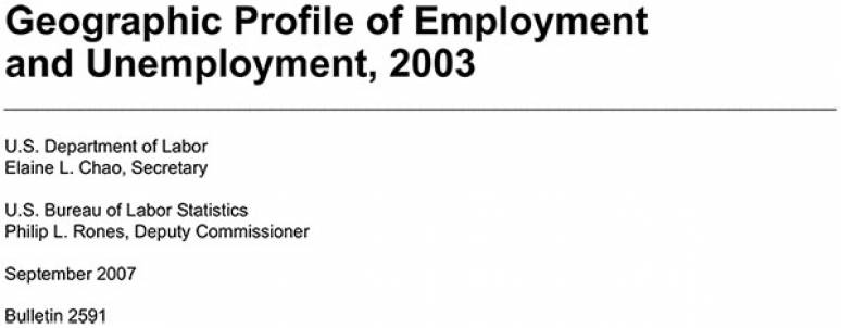 Geographic Profile of Employment and Unemployment, 2003