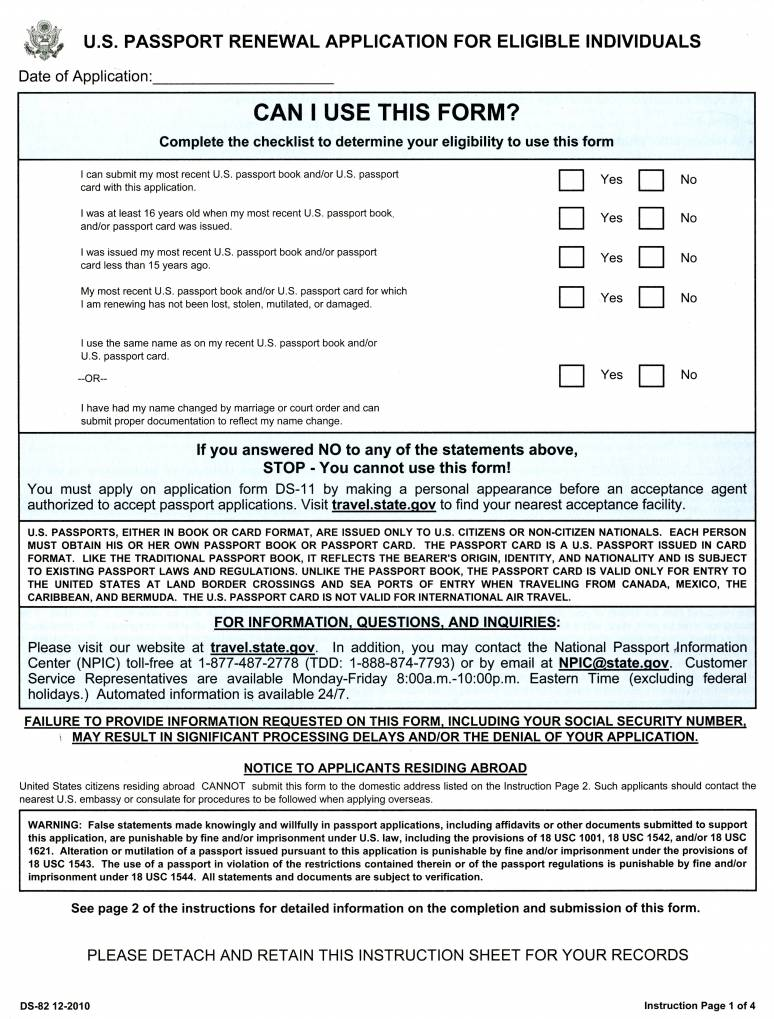 U.S. Passport Renewal Application for Eligible Individuals, Form DS-82 (2010)