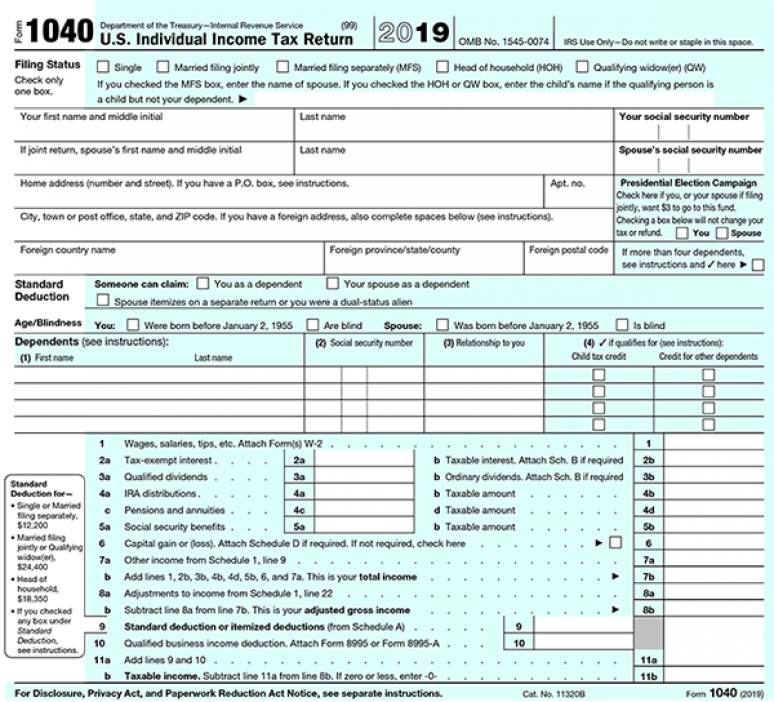 2019 IRS Tax Form 1040 (schedule A) Itemized Deductions