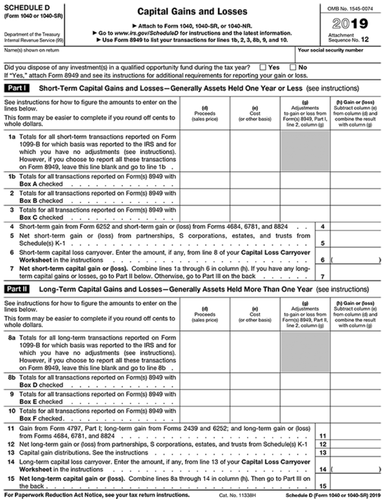 2019 IRS Tax Form 1040 (Schedule D) Capital Gains And Losses