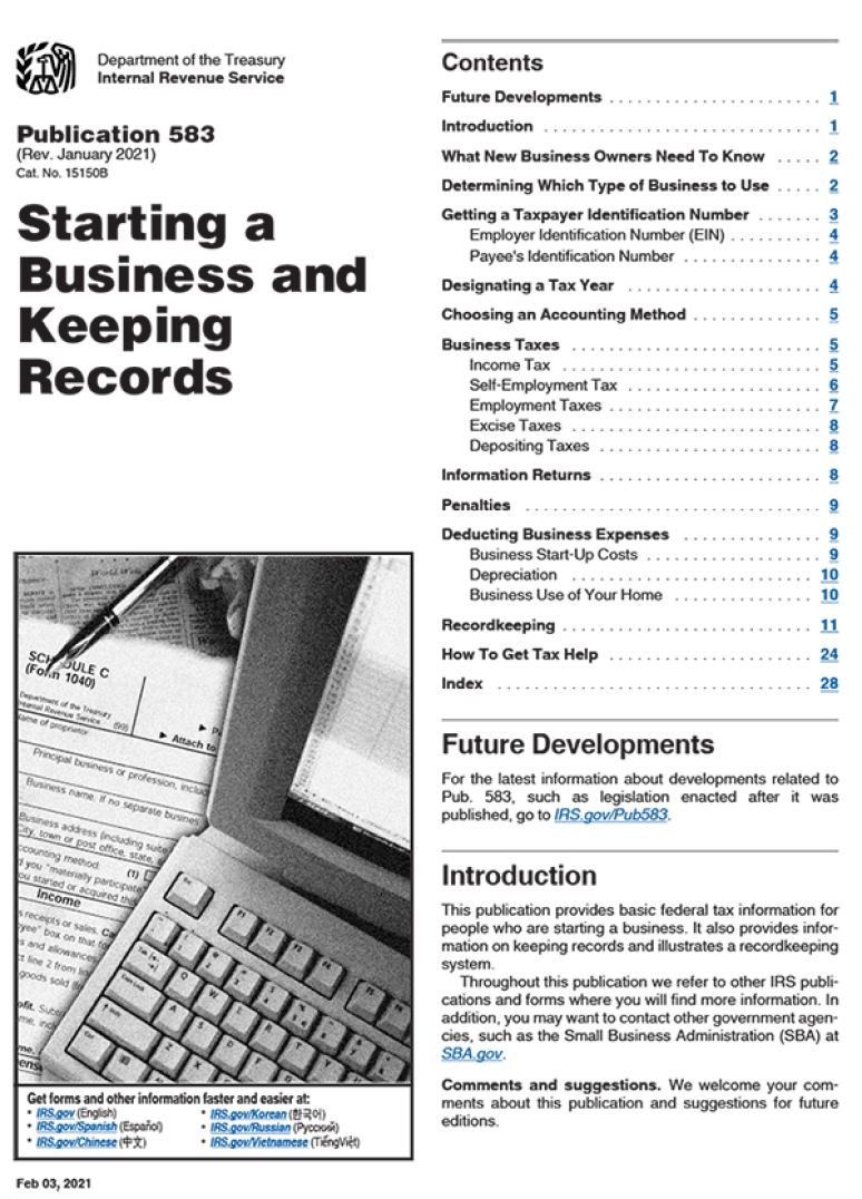 2019 IRS Publication 583 (starting A Business And Keeping Record)