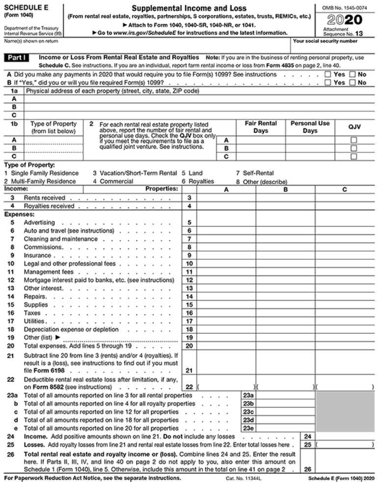 2020 Tax Form Schedule E