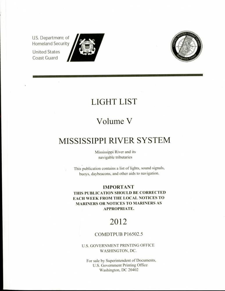 Light List 2012, Volume 5, Mississippi River System