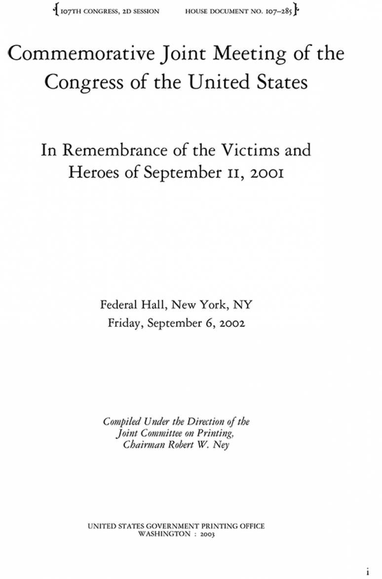 Commemorative Joint Meeting of the Congress of the United States: In Remembrance of the Victims and Heroes of September 11, 2001