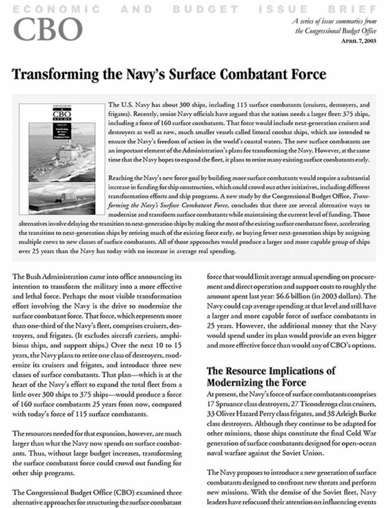 Transforming the Navy's Surface Combatant Force