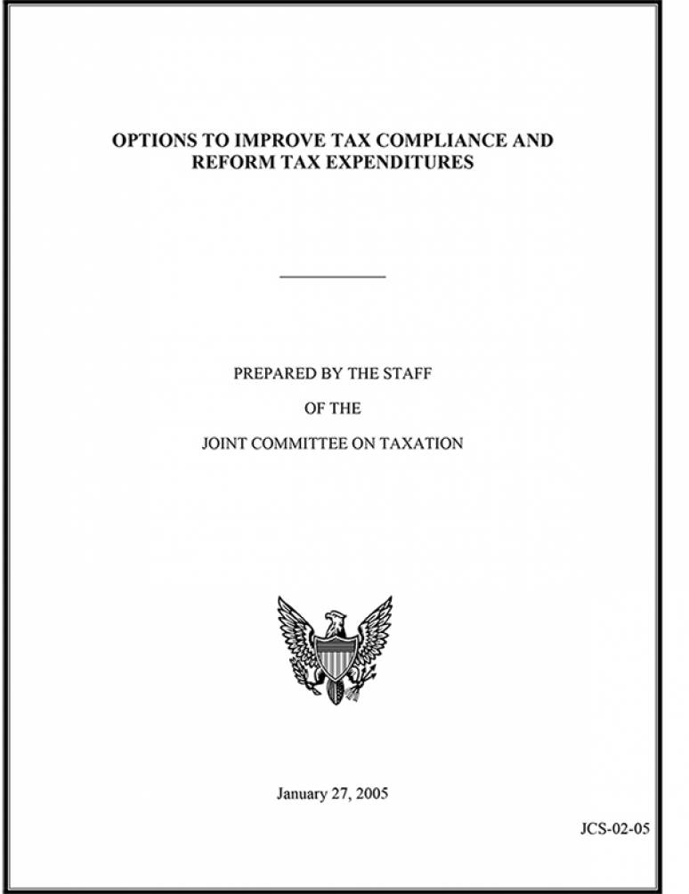 Options to Improve Tax Compliance and Reform Tax Expenditures, January 27, 2005