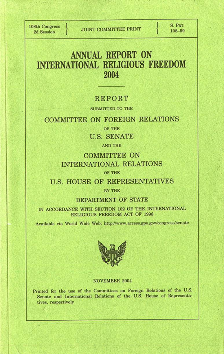 Annual Report on International Religious Freedom, 2004
