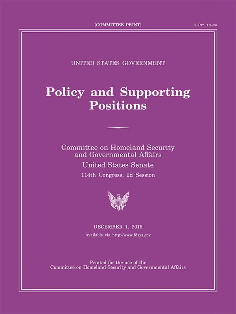 United States Government Policy and Supporting Positions, 2008 (Plum Book)