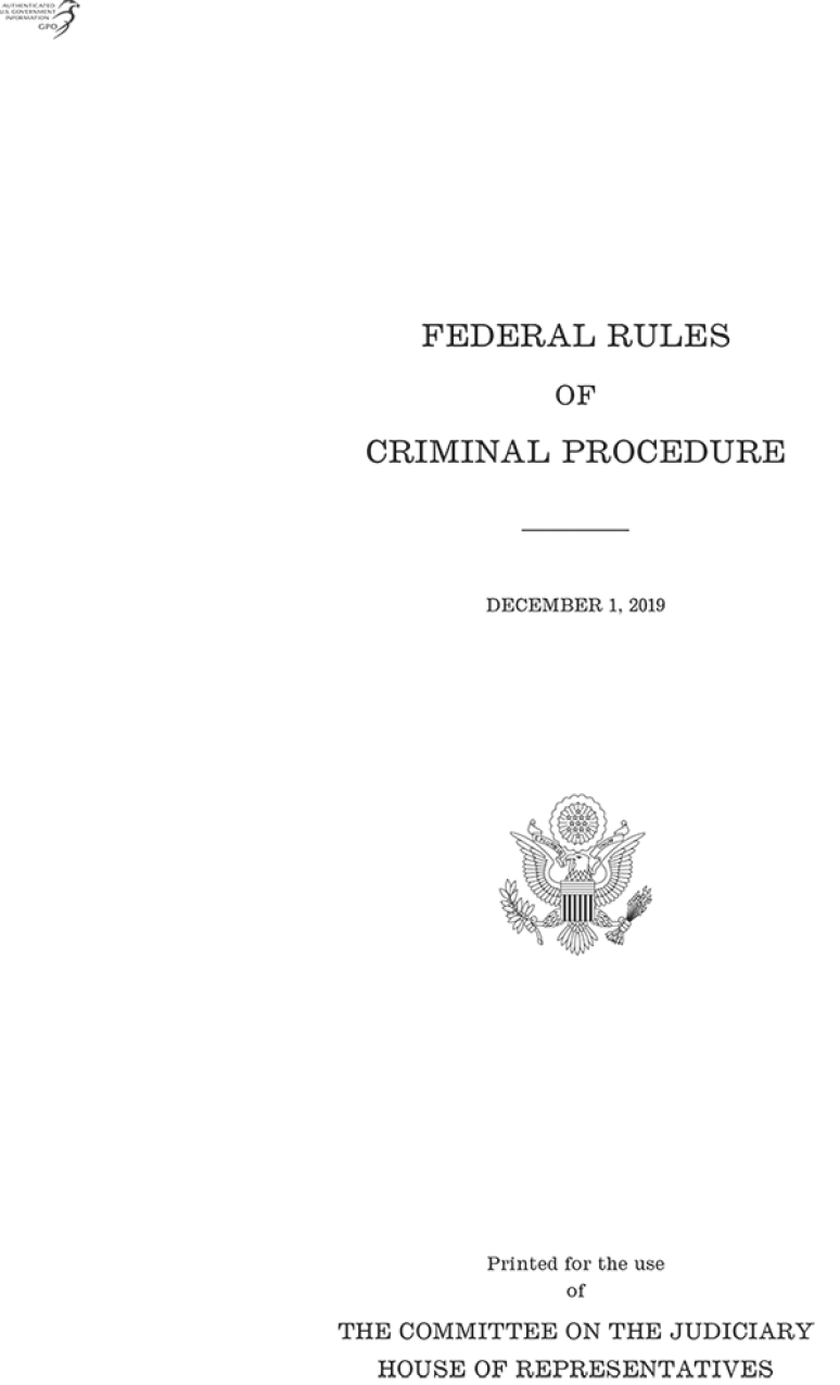 Federal Rules Of Criminal Procedure, 2019