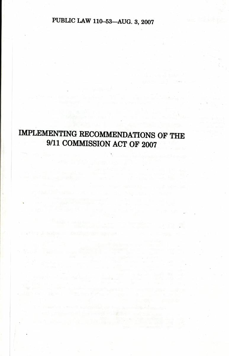 Implementing Recommendations of the 9/11 Commission Act of 2007, Conference Report to Accompany H.R. 1, July 25, 2007