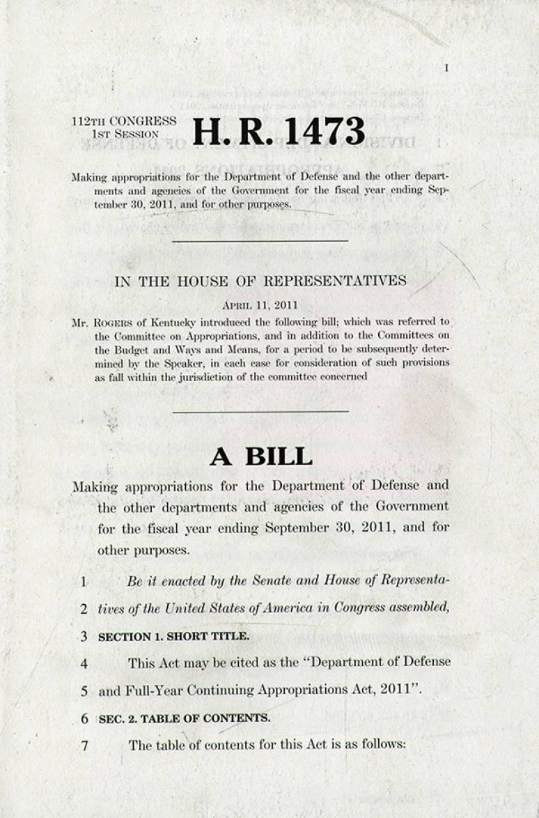 H.R. 1473, Making Appropriations for the Department of Defense and the Other Departments and Agencies of the Government for the Fiscal Year Ending September 30, 2011, and for Other Purposes