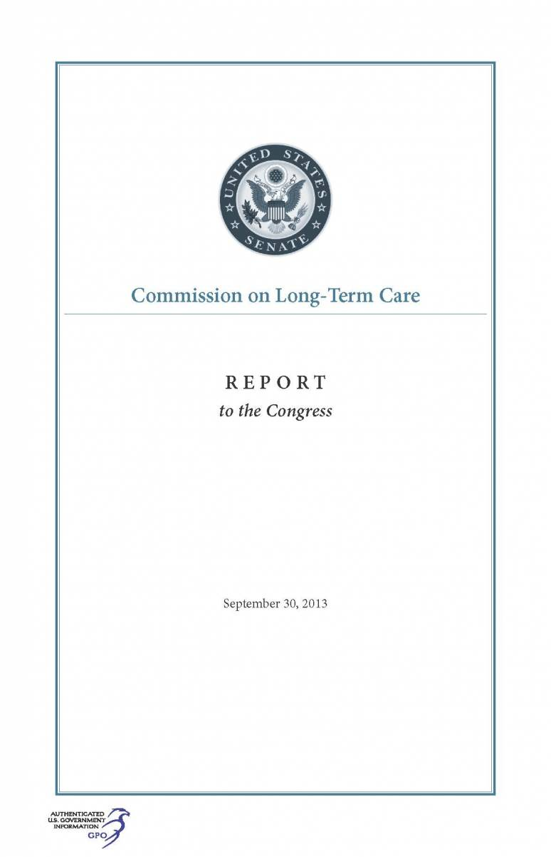Commission on Long-Term Care Report to the Congress, September 30, 2013