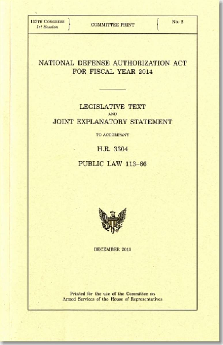 National Defense Authorization Act For Fiscal Year 2014