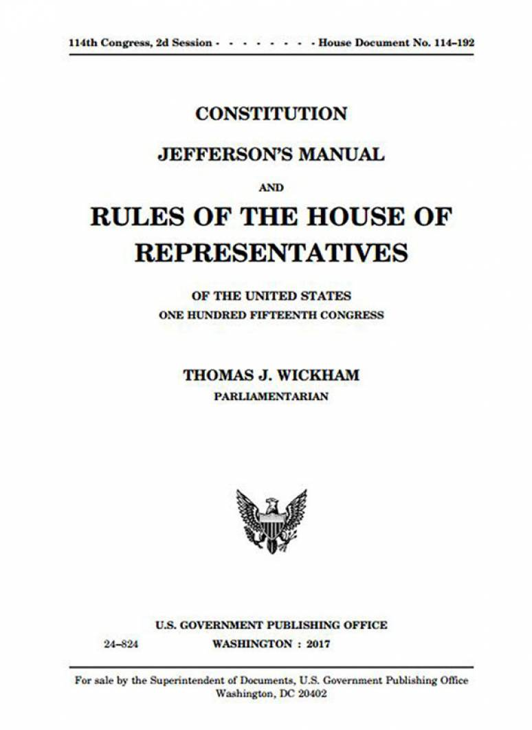 Constitution Jefferson\'s Manual House Rules 115th Congress