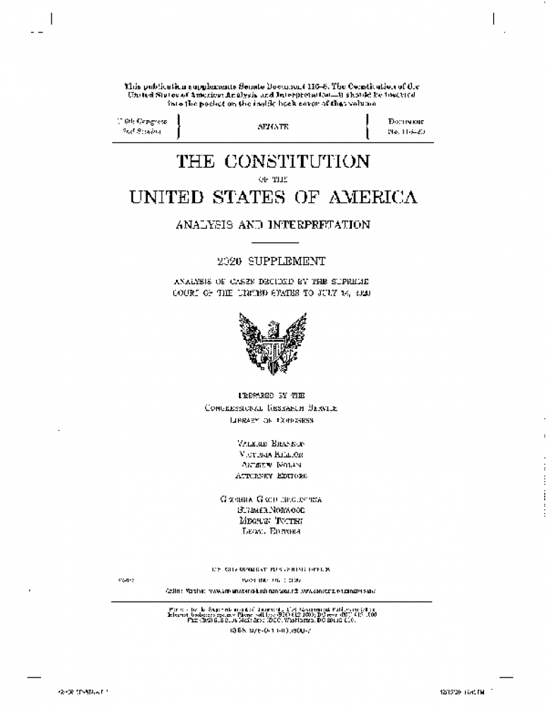 Constitution of the United States of America Analysis and Interpretation, 2020 Supplement