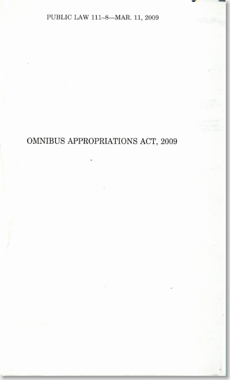 Omnibus Appropriations Act, 2009, Public Law 111-8