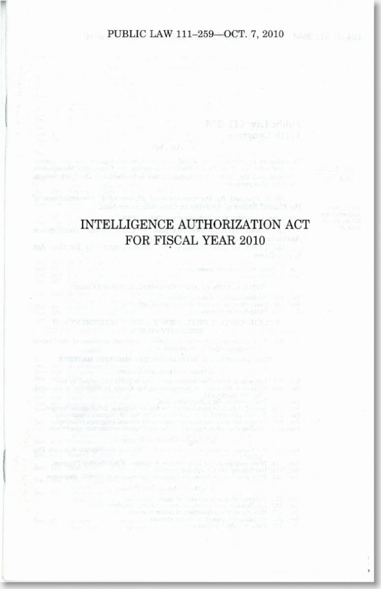 Intelligence Authorization Act for Fiscal Year 2010, Public Law 111-259