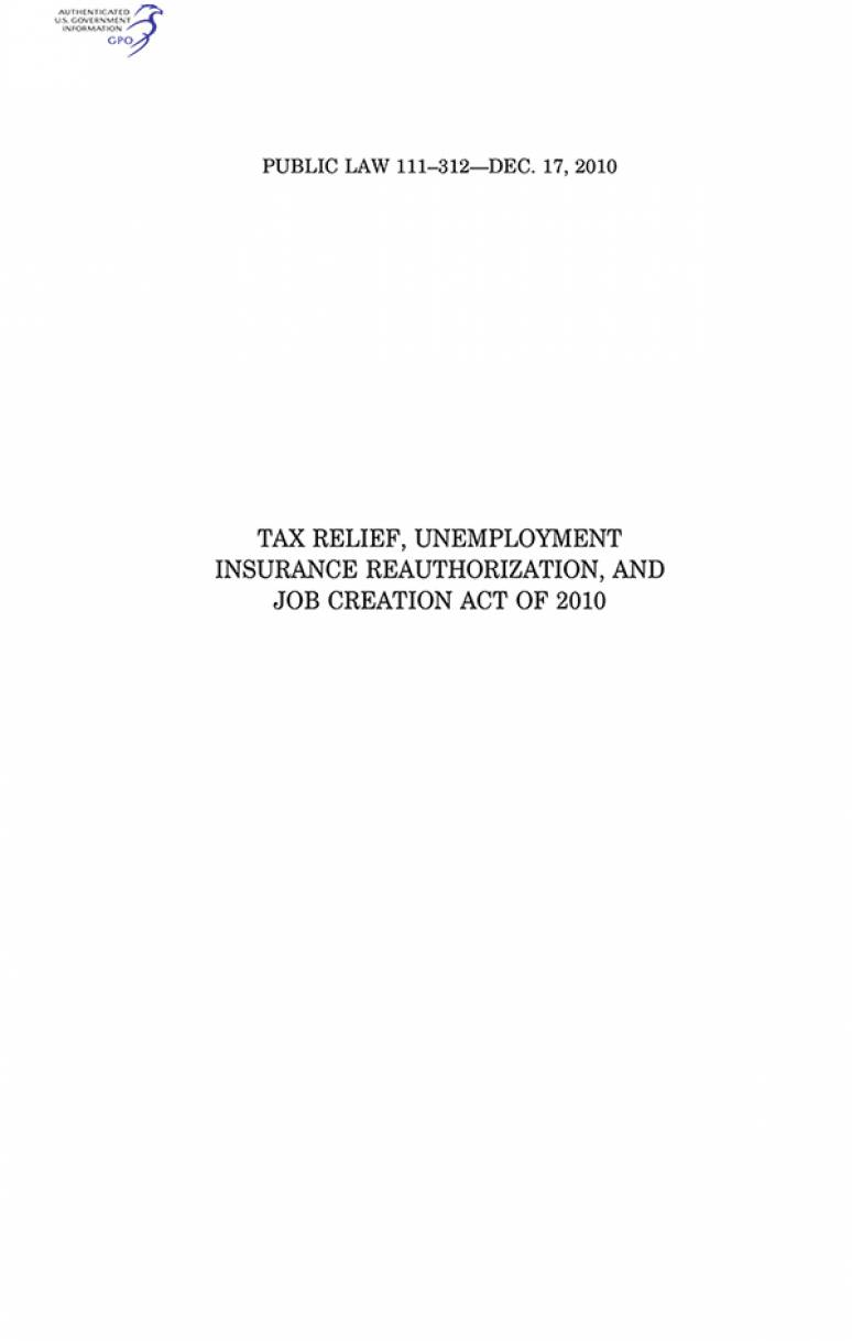 Tax Relief, Unemployment Insurance Reauthorization, and Job Creation Act of 2010, Public Law 111-312