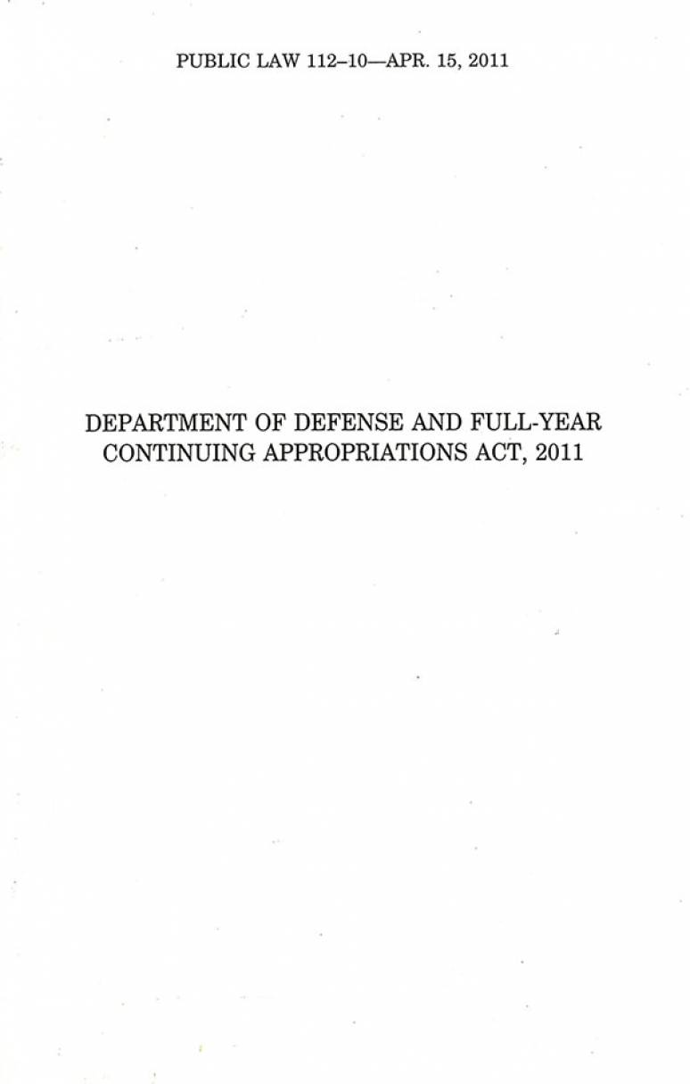 Department of Defense and Full Year Continuing Appropriations Act 2011