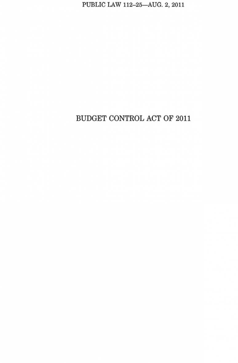 Budget Control Act of 2011, Public Law 112-25