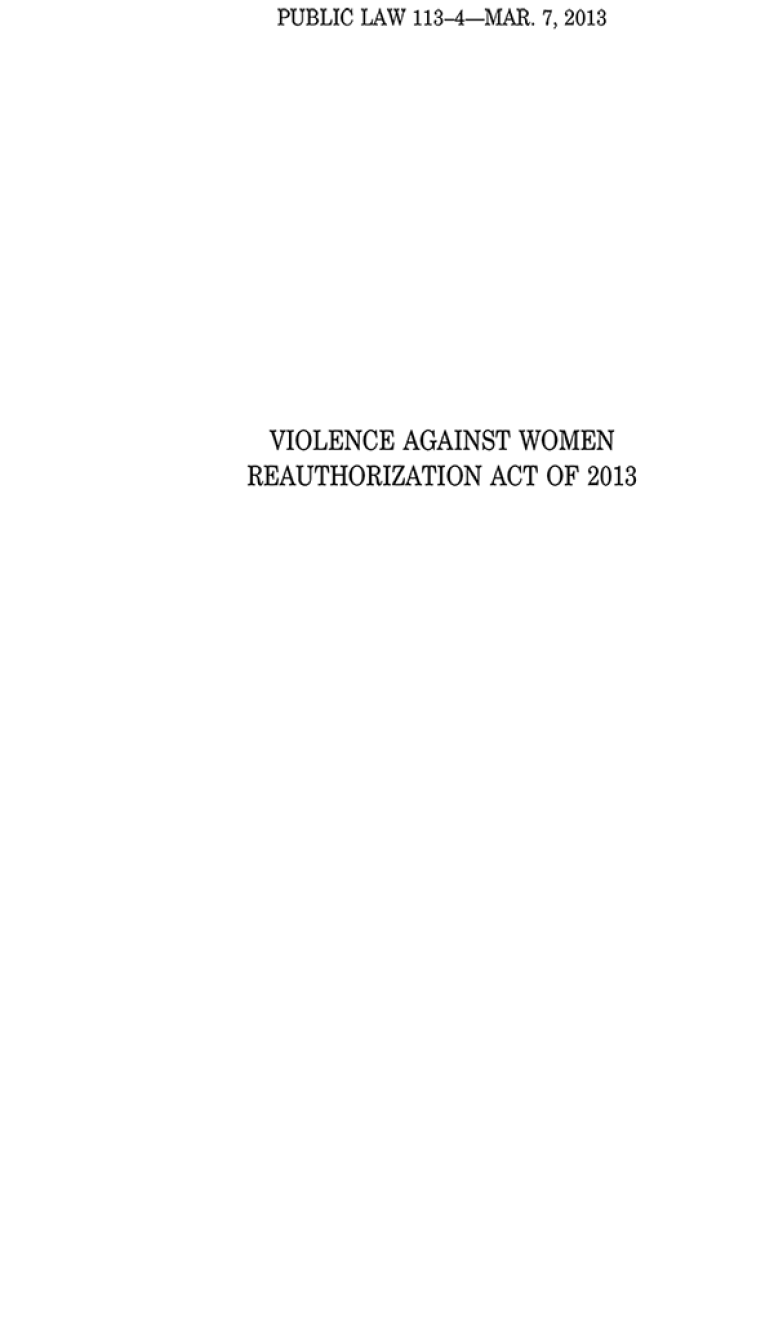 Violence Against Women Reauthorization Act of 2013, Public Law 113-4