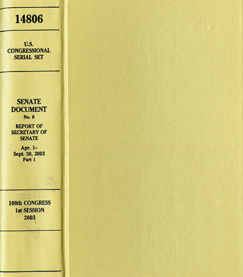 United States Congressional Serial Set, Serial No. 14808, Senate Document No. 10, Semiannual Report of Architect of Capitol, April 1-Sept. 30, 2003