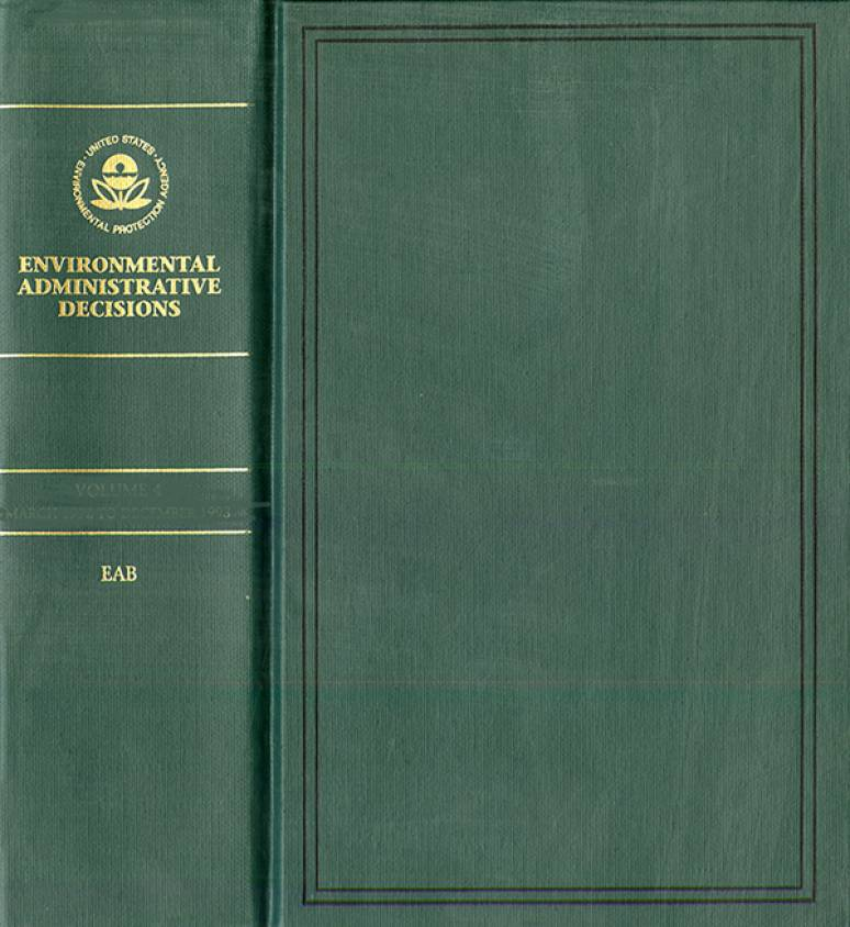 Environmental Administrative Decisions: Decisions of the United States Environmental Protection Agency, V. 5, January 1994-April 1995