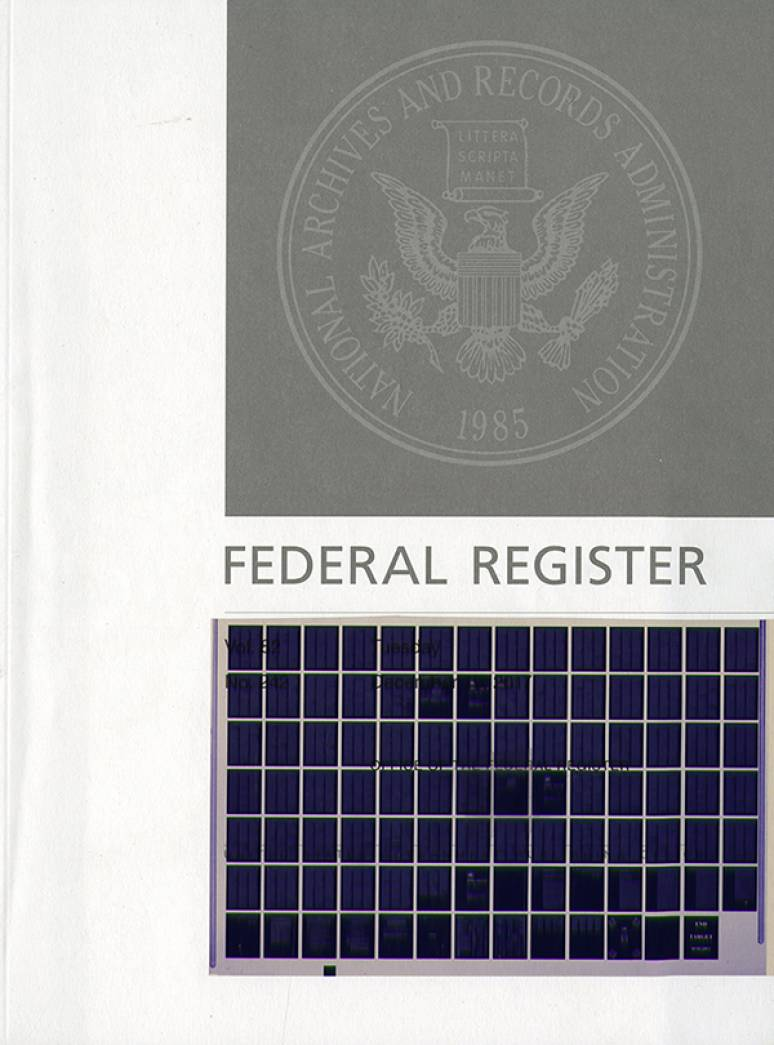 Volume 83 #1-211 Jan-oct. 2018; Federal Register (microfiche)