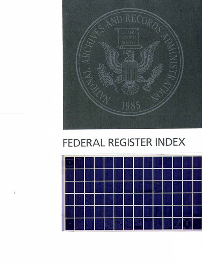 Vol.82 Index  Numbers 1 To 209; Federal Register (microfiche)        Jan. Oct. 2017