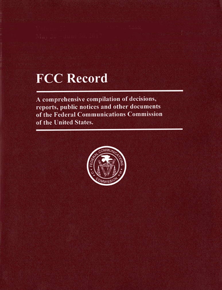 Vol. 3 Issue 9; Federal Communications Commission Record