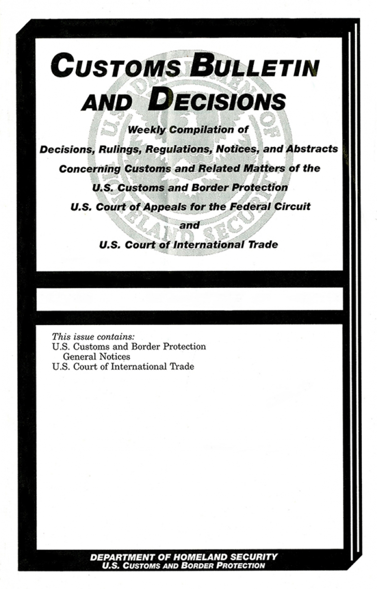 Customs and Border Protection Regulations of the United States, 2020 Revised Edition