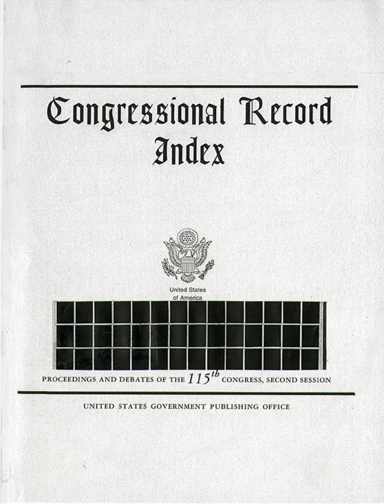 Index Volume 164  #132-153; Congressional Record (microfiche)    Aug. 7 To Sept. 13 2018