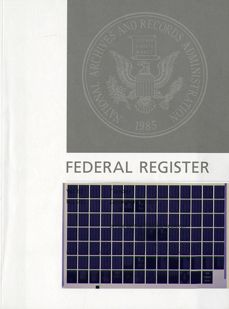 Index Jan-dec 2018 #1-249; Federal Register (microfiche)