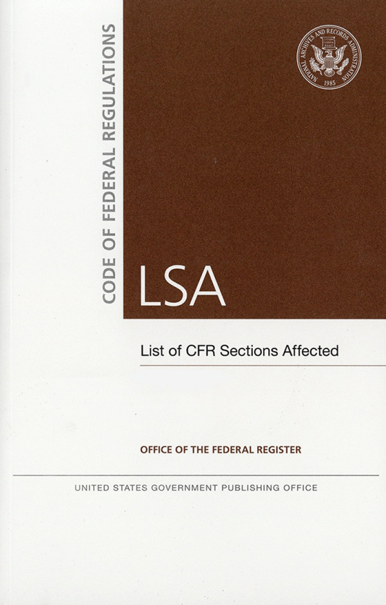 Cfr Lsa July 2019; Federal Register Complete