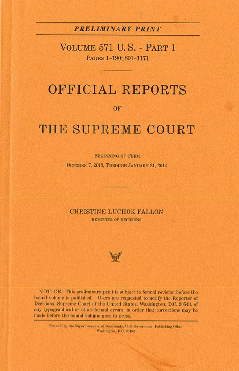 Official Report Of The U.s. Supreme Court Preliminary Reports 2013
