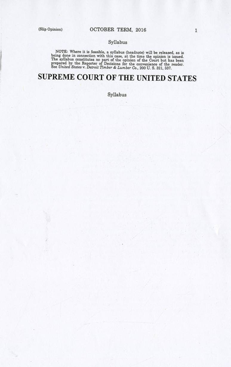 16-499; 2017 Supreme Court The Individual Slip Opinions Term Of Court