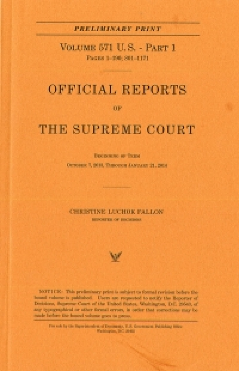 Official Report Of The U.s. Supreme Court Preliminary Reports 2015
