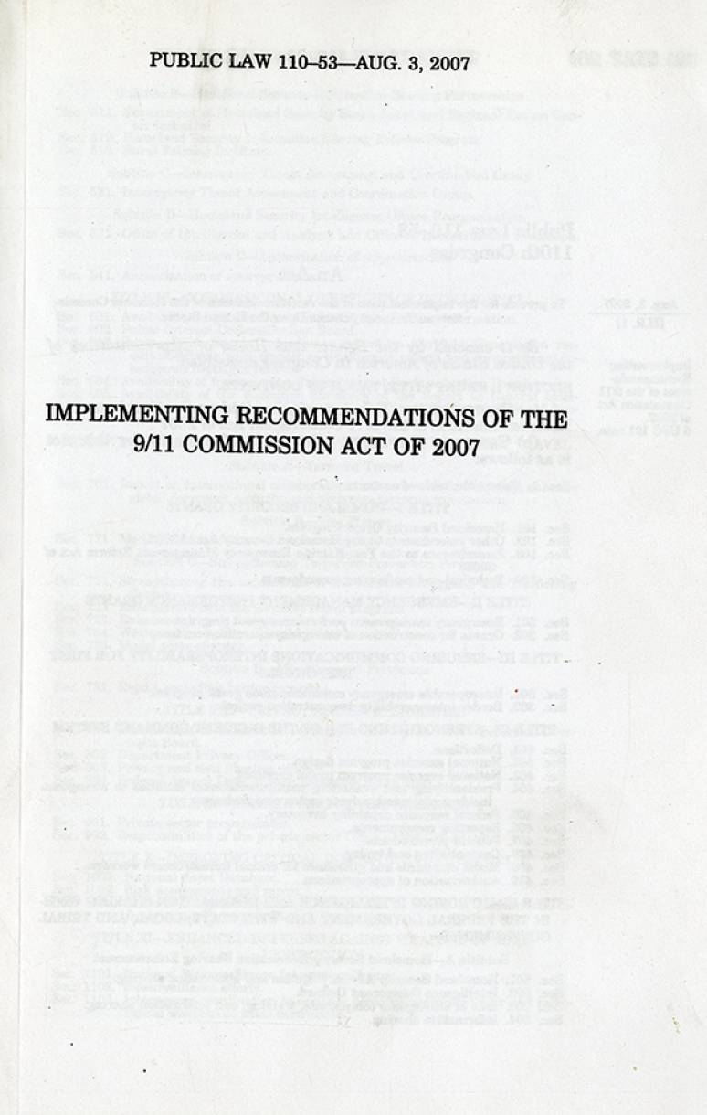 Implementing Recommendations of the 9/11 Commission Act of 2007, Public Law 110-53