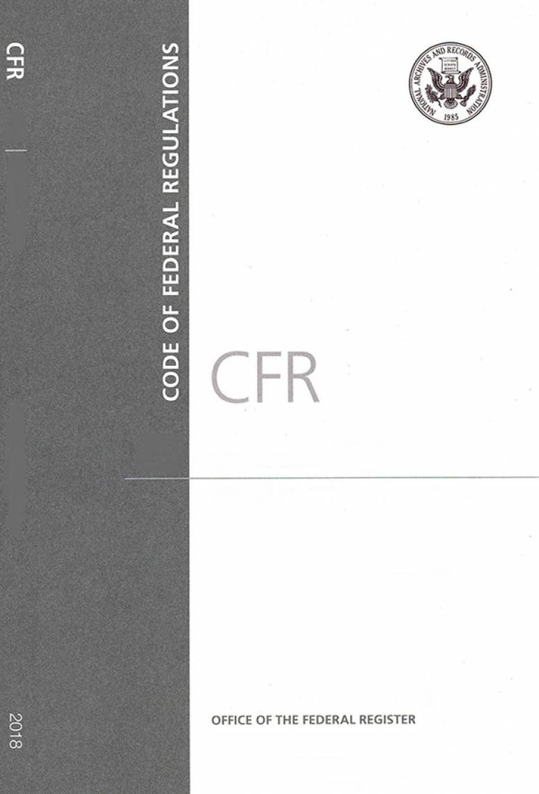 Cfr Title 40 Pt 61-62         ; Code Of Federal Regulations(paper)2018
