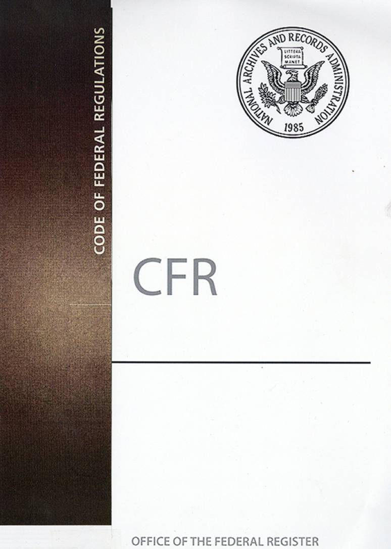 Cfr Title 1                   ; Code Of Federal Regulations(paper)2019