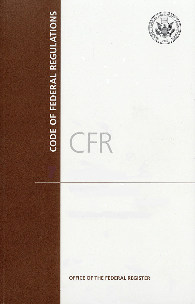 Cfr Title 40 Pt 63(63.1-63.599); Code Of Federal Regulations 2019